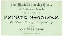 The Marietta Dancing Class, Second Sociable, Marietta, Pa., Feb. 22, 1887