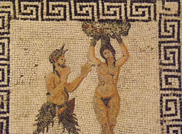 Detail of the Pan and Amadriade Mosaic in the Naples Archaeological Museum, July 2012