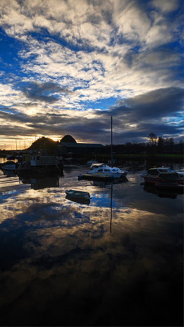 Dumbarton Rock and the River Leven at Dawn