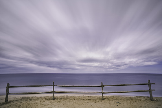 fence, sand, sky, water