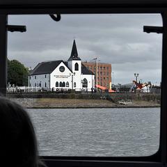 Norwegian Church seen through the window of 'Princess Katharine'