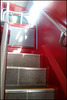 stairs on a red Oxford bus