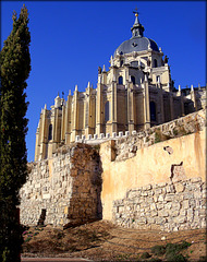 Madrid, Almudena Cathedral and the earliest (Muslim) walls.