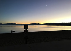 Lake Tahoe sunset, with Moon