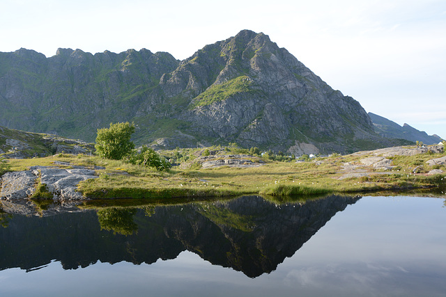 Norway, Lofoten Islands, Tindstinden Peak (490m) and Its Reflection