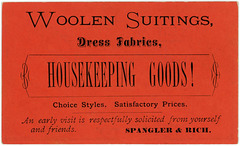 Woolen Suitings, Dress Fabrics, Housekeeping Goods! Spangler and Rich, Marietta, Pa.