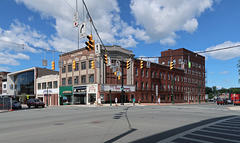 Among the most important components of downtown Schenectady's famous streetscapes are: dangling traffic signals.