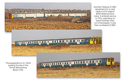 Southern 313201 in BR blue Tidemills 3 1 2018