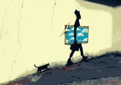 Me ne vado a passeggiare con Kenny, il gatto e la Gabbianella...:-)