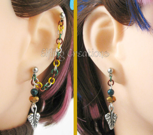 Lothlorien Leaf Cartilage Chain Earrings Pair