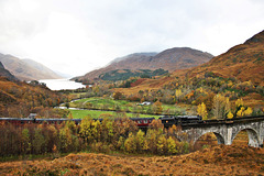 The Jacobite at Glenfinnan viaduct with Loch Shiel in the background