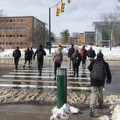 Eleven strangers cross a sloppy street in silence.