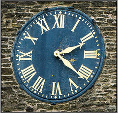 The 63 minute clock face of St. Peter and St. Pauls... Old Brampton , Chesterfield.