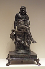 Bronze Incense Burner in the Shape of a Comic Actor on an Altar in the Getty Villa, June 2016