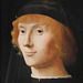 Detail of a Portrait of a Young Man by Antonello da Messina in the Metropolitan Museum of Art, September 2021