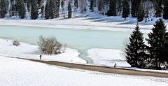 Lamoura (39) 18 mars 2015. Le lac gelé.