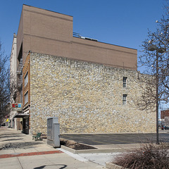 """The famous """"Wall of Likeability"""" in downtown Hamilton, Ohio. 2 windows."""