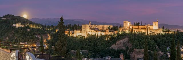 Granada, Alhambra, Panorama, Mondaufgang