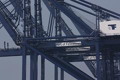 Dock cranes at Felixstowe port, Suffolk, England.