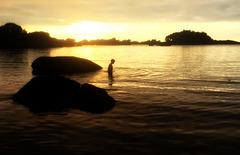 sunset bathing