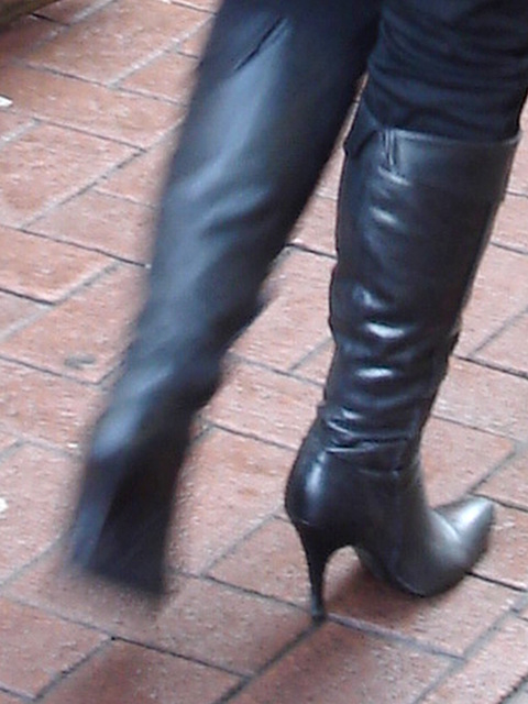 Mature Blonde Goddess in Dominatrix stiletto patent leather high-heeled Boots