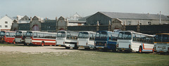 Line up of coaches at St. Helier - 4 Sep 1999