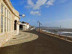 Lyme Regis seafront on a December day.