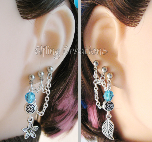 Triple Pierced Celtic Flower Earrings