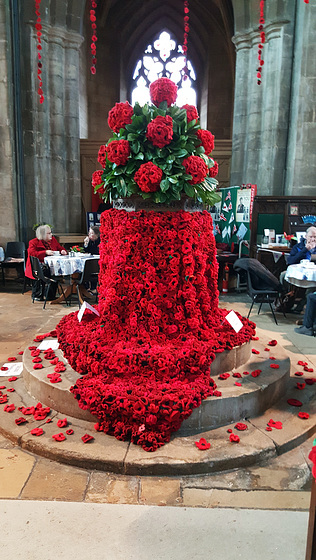 A sea of Poppies ...Over 15,000 hand knitted Poppies ... St Andrew's church Heckington ~ Lincolnshire