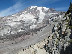 Mount Rainier and people.