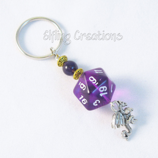 Purple Dragon and Dice Keychain