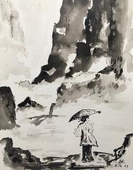 Encre de Chine : Balade en montagne
