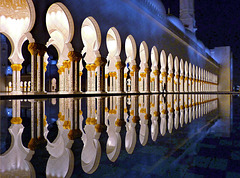 """Reflections in the water"" : - Zayed mosque in Abu Dhabi - 7,5 v - 2° place"