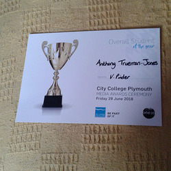 Tony's award certificate