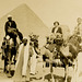 Tourists on Camels Near the Sphinx and Great Pyramid, Giza Necropolis, Cairo, Egypt