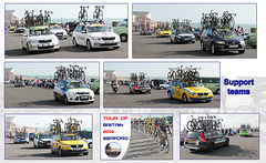 Tour of Britain - Seaford - support team cars - 13 9 2014
