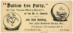 Hallow Eve Party Ticket, Young Men's Society, First Methodist Episcopal Church, Lancaster, Pa.