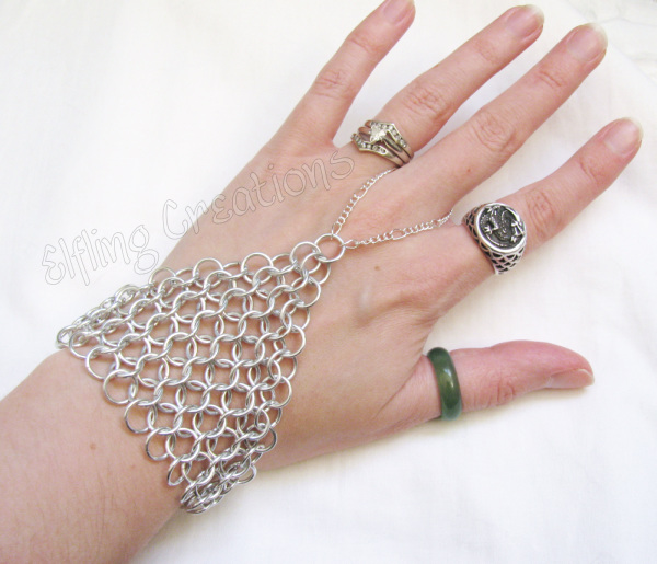 Silver Chainmaille Hand Flower Slave Bracelet