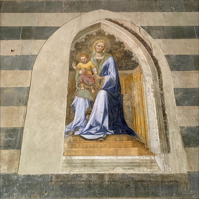 Madonna enthroned with Child.