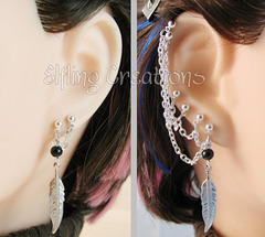 Feather Connected Chain Earrings