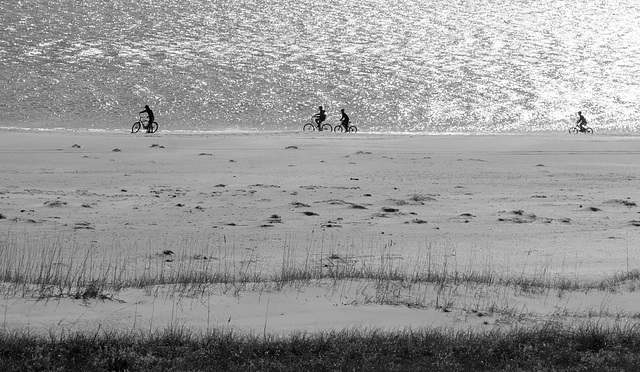 Cyclists on the beach, Thanksgiving Day