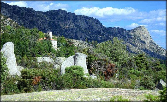 Monastery and  Pico de La Miel, Sierra de La Cabrera