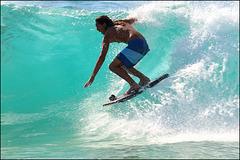 surfing at Sandy Beach