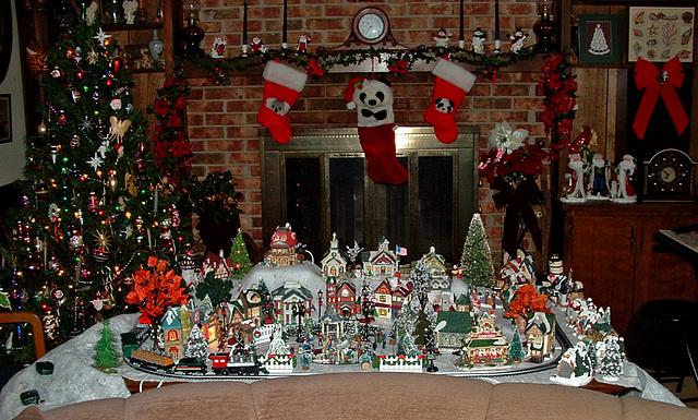 Christmas tree and village 2003