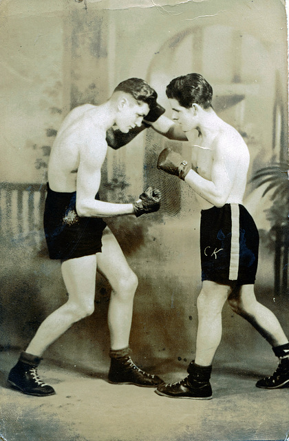 """Message on the back reads """"Japan April 1947 Just Sparring"""""""