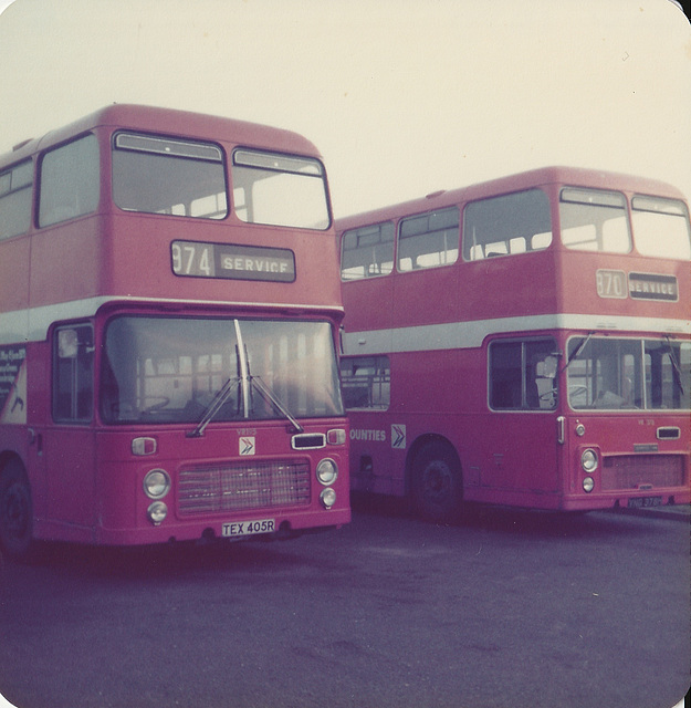 Eastern Counties TEX 405R and VNG 378H - May 1979
