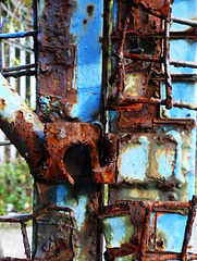The blue goes well with the rust