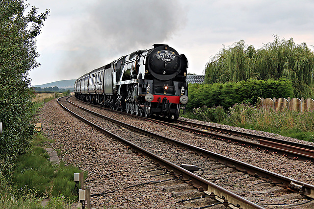 Bulleid Merchant Navy class 35018 BRITISH INDIA LINE at East Heslerton Crossing with 1Z27 16.41 Scarborough - Carnforth The Scarborough Spa Express 19th August 2021. (steam as far as York)