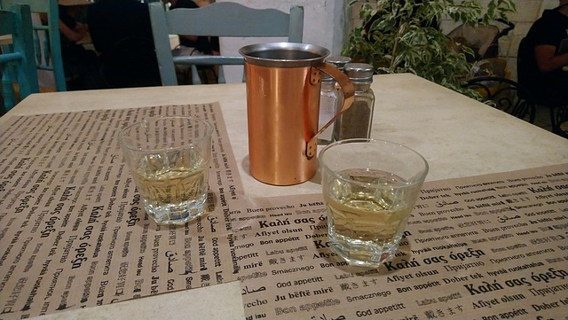 A small jug of white wine for two, Corfiot style