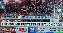 """ Thousands of New Yorkers have taken to the streets to join the nationwide anti-Trump         protests.  Chanting ""Not my President!!!!!"
